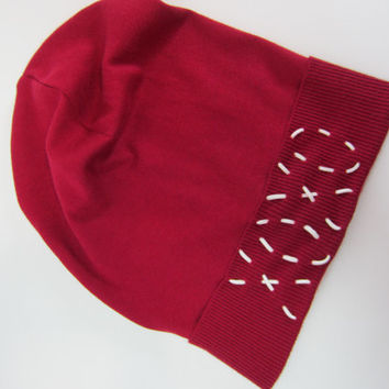 XOXO Silk Cashmere Slouchy Beanie Red Slouch Beanies Hat Valentine's Day  A1291