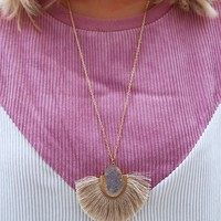 Fan Of Hers Necklace: Beige/Gold
