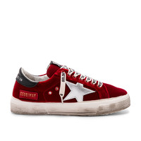 Golden Goose May Sneaker in Red Velvet & Silver Star