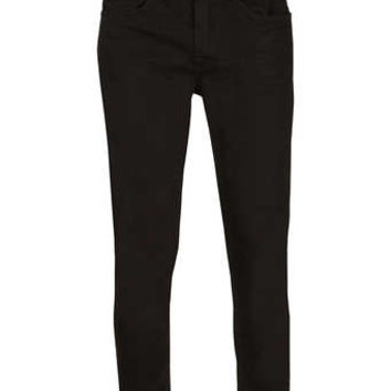 Black Overdyed Cropped Stretch Skinny Jeans - Men's Jeans - Clothing