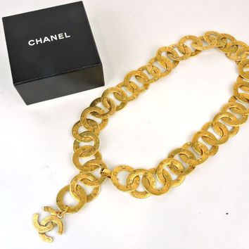 "AUTHENTIC CHANEL GOLDTONE CC WIDE HOOP CHAIN NECKLACE / BELT Siz 29.5"" 75cm +BOX"