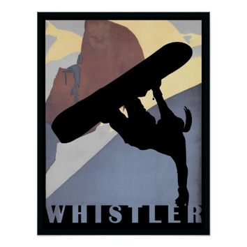 Whistler Snowboarding woman winter sports poster
