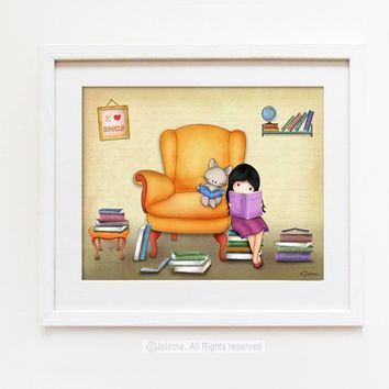 Books art prints for children, baby room art, Library wall art, Girl and cat reading books , etsy kids art, reading room decor (V1)