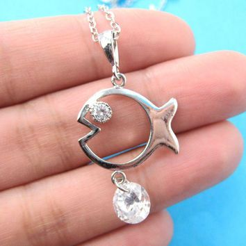Fish Shaped Animal Charm Necklace in Silver with Rhinestones on SALE