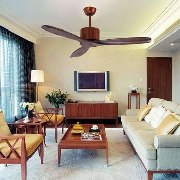 42-inch solid wood comfortable chandelier fan no lamps European project no lights fan chandelier Villa fans without lights