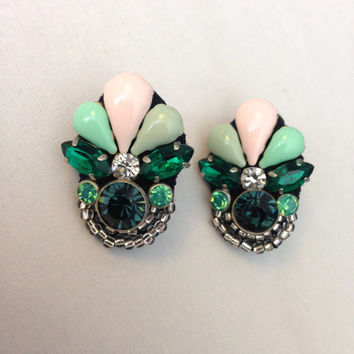 Art Deco Mint Emerald and Blush Statement Pendant Earrings with Gold Stud Backing