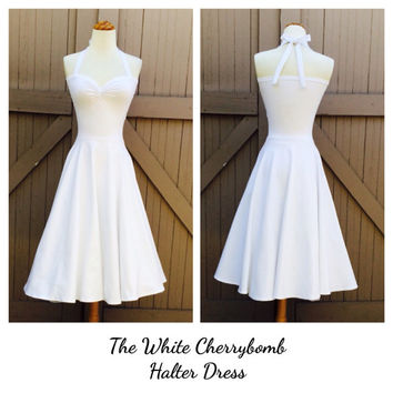White Halter Dress, Rockabilly Wedding, Semi Formal a Pinup, Cotton Lycra Knit Special Occasion Bridesmaid Dress