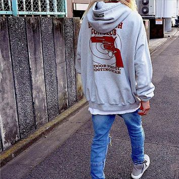 Leisure printed letters hooded sweater