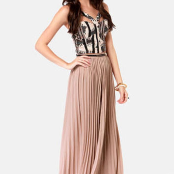 Easy Pickings Pleated Taupe Maxi Skirt