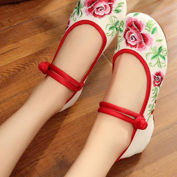 Chinese Peony Embroidery Asakuchi Flower Toe Ring Band Flats Shoes CK00525 White Shoes