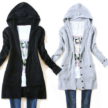 Long-sleeve knitted outerwear long hooded cardigan sweater Autumn