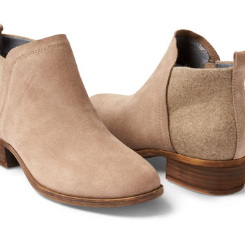 DESERT TAUPE SUEDE AND WOOL WOMEN'S DEIA BOOTIES