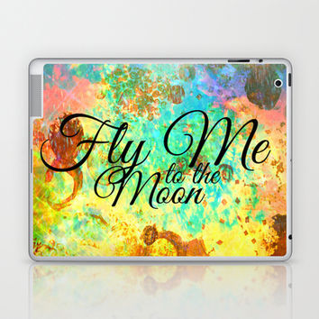 FLY ME TO THE MOON - Rainbow Bold Galactic Outer Space Orbit Stars Abstract Fine Art Typography Laptop & iPad Skin by EbiEmporium