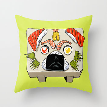 Pug Sushi  Throw Pillow by Huebucket