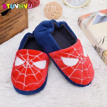 New children winter warm cotton slippers boys and girls indoor home shoes kid non-slip toddler shoes for boys spiderman slippers