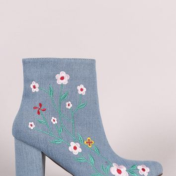 Denim Embroidered Floral Vines Chunky Heeled Booties