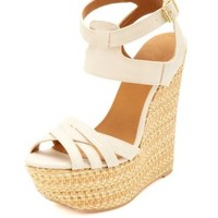 Crisscrossing Ankle Cuff Woven Wedge Sandals - Stone