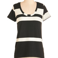 ModCloth Mid-length Short Sleeves Striped Simplicity Top - Short Sleeves
