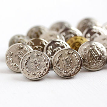 Vintage Letter P Repoussé Initial Button Lot - 19 Antique Silver Tone & Brass Art Deco 1930s Police Uniform Round Shank Button Supplies