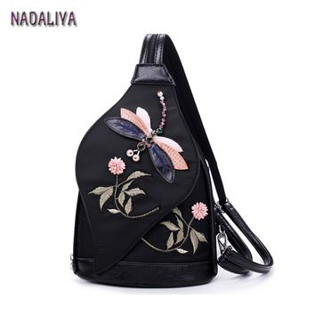 NADALIYA New Fashion Retro National Hand Embroidery Shoulder Bag Backpack Chest Woman Waterproof Oxford Cloth Backpack Designer