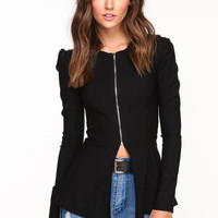 ZIP PEPLUM JACKET