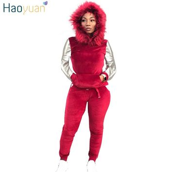 HAOYUAN Velvet Two Piece Set Autumn Winter Outfits Women Clothes Sweatsuit Hoodies Tops+Pant Sweat Suit 2 Piece Velour Tracksuit