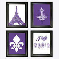 I love Paris art set - Fleur de lis - Chandelier Art - Eiffel Tower Print - Girls room decor - Christmas Gift for her - Purple & white decor