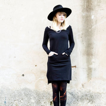 Black Tunic Dress, Bohemian Tunic Dress, Long Sleeves Dress, Winter Fashion, Little Black Dress