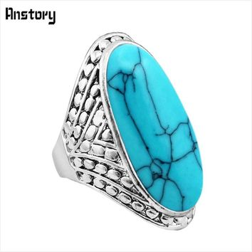 Crack Dot Oval Blue White Stone Rings For Women Vintage Antique Silver Plated Wedding Party Gift Fashion Jewelry TR363