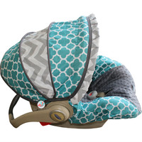 Teal Quarterfoil with grey chevron car seat cover infant moves to toddler