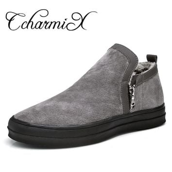 CcharmiX Mens Chelsea Boots Winter Waterproof Men Snow Boots Zipper Pig Suede Male Ankle Boots Men Warm Snowboots Large Size 47