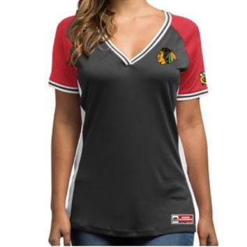 "Majestic Chicago Blackhawks Women's Majestic NHL ""League Diva"" V-neck Fashion Shirt"