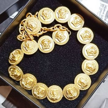 Versace Fashion New More Human Head Necklace Accessories Women Golden