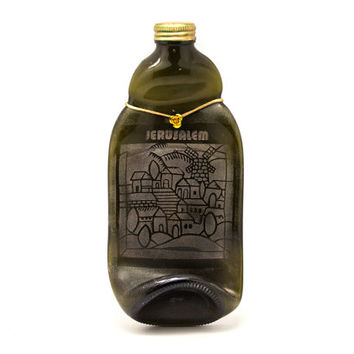 Brown melted bottle with a drawing of Jerusalem on it - Souvenir from Jerusalem - Housewarming gift
