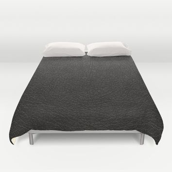 Leather textile pattern fabric black Duvet Cover by Xiari