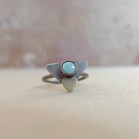 Turquoise triangle ring in oxidized sterling silver with a brass heart, size 6.5