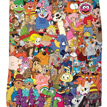 80's Cartoon Collage Fleece Blanket