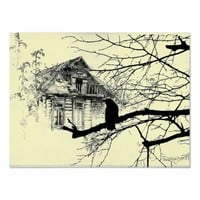 Raven on the Tree, House in Ruins Posters from Zazzle.com