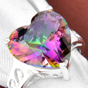Heart-shaped crystal ring
