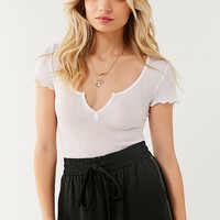 Out From Under Serena Notch Henley Tee | Urban Outfitters