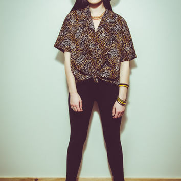 VTG 80s Cheetah Print Animal Party Blouse