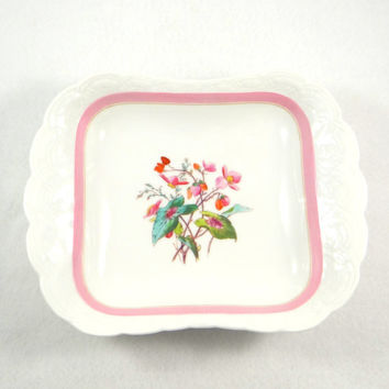 Antique Limoges Dish with Gorgeous Floral Design from the 1800s