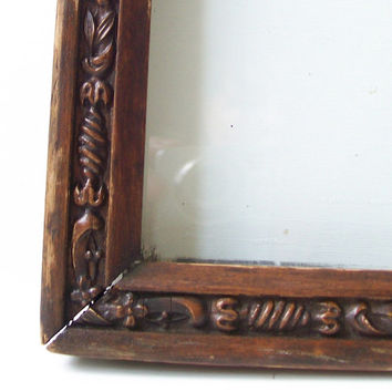 "vintage antique wood frame hand carved no picture old wal hanging decorative home decor ornate flowers floral leaves 13.5"" x 11.5"""