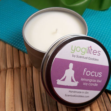 FOCUS Yoga Candle - Yogilights Lemongrass & Kiwi Aromatherapy Scented Soy Candle