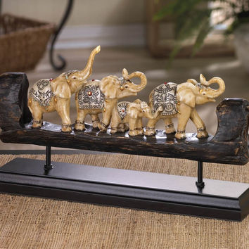 Elephant Family Carved Decor