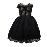 Vintage Lace Cocktail Dress Trimmed with Velvet Size 0 2
