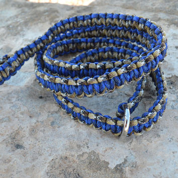 Macrame slip lead dog leash, Blue and Brown Paracord leash