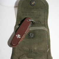 VINTAGE Boy Scout Set, Boy Scout Handbook, Swiss Army Knife, US Military Pouch from WW2.