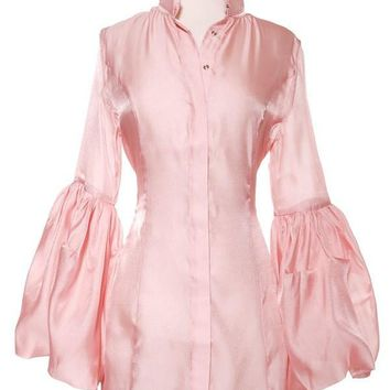 Romantic Tapered Blouse With Bishop Sleeve