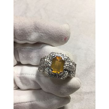 Vintage Handmade Golden Genuine Fire Opal 925 Sterling Silver gothic Ring